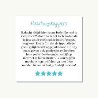 #reviewwednesday Voor Haarhuyskappers, een kapperszaak in Gorinchem onderhouden wij maandelijks haar social media kanalen. Zij hoeven alleen ons foto's aan te leveren zodat wij continue nieuwe content kunnen plaatsen. Voor Haarhuyskappers hebben wij voorafgaand hun website mogen maken + ook heel veel content mogen schrijven voor de blog-pagina op de website.   De review van Haarhuyskappers: 'Ik dacht altijd: hier is ons bedrijfje veel te klein voor?! Maar nu is het toch zo dat als je iets water geeft ook je bedrijf groeit, erg leuk! Het is fijn dat de input die je geeft, gelijk wordt opgepakt door Infinity en ze geven ook goede tips en hebben hele goeie ideeën om je bedrijf op internet te laten stralen, ik zou zeggen mocht je nog twijfelen: ga met deze meiden in zee en laat je bedrijf bloeien!'  We zijn super trots op dit soort reviews en delen deze daarom graag met jullie!😁  #maandelijksemarketing #marketingactiviteiten #onderhoudmarketing #marketingonderhoud #marketingteam #team #haarhuyskappers #kapper #review #recensie #socialmediaonderhoud
